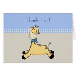Tan Blue Giraffe Baby Boy Thank You Cards