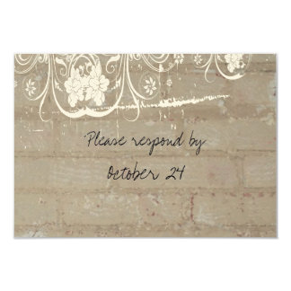 Tan Brick Lace rsvp with envelopes Card