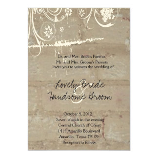 Tan Brick Lace Wedding Invitation