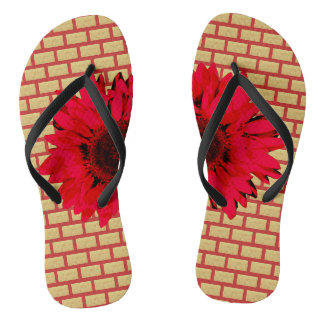 Tan Brick Red Sunflower Thongs