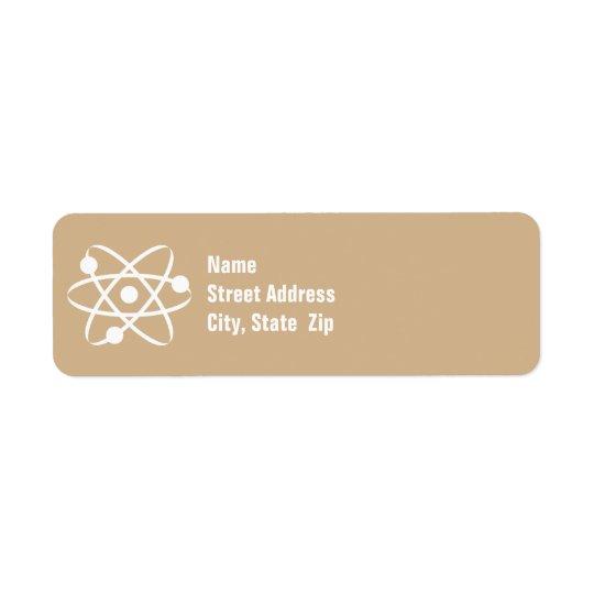 Tan Brown Atom Return Address Label
