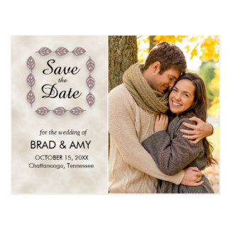 Tan / Brown Autumn Leaves Wedding Save the Date Postcard