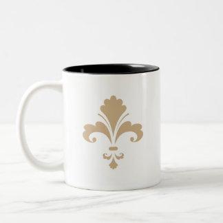 Tan Brown Fleur de lis Two-Tone Mug
