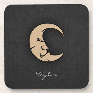 Tan Brown Moon Beverage Coasters
