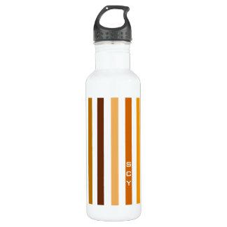 Tan Brown Orange Vertical Stripes Monogram 710 Ml Water Bottle