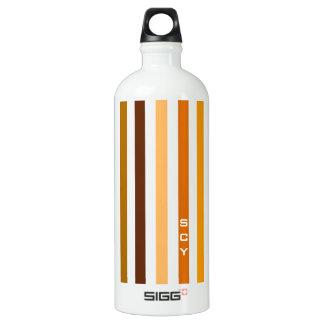 Tan Brown Orange Vertical Stripes Monogram Water Bottle