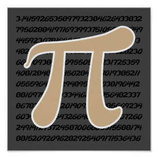 Tan Brown Pi symbol Poster