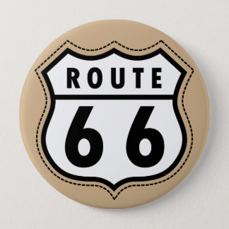 Tan Brown Route 66 road sign 10 Cm Round Badge