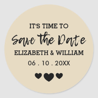 Tan Brown Save the Date Shabby Chic Heart Wedding Round Sticker
