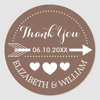 Tan Brown Thank You Wedding Stickers Arrow Heart