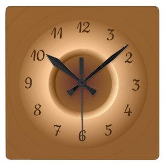 Tan Brown with a Gold Circle Ring Minimalist Clock