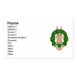 Tan Bunny And Christmas Wreath Business Cards