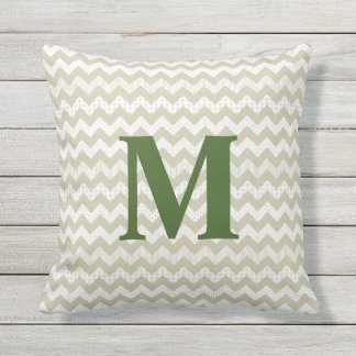 Tan Chevron and Green Monogram Outdoor Pillow
