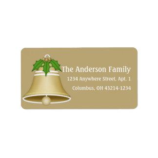 Tan Christmas Holiday Bell Return Address Address Label