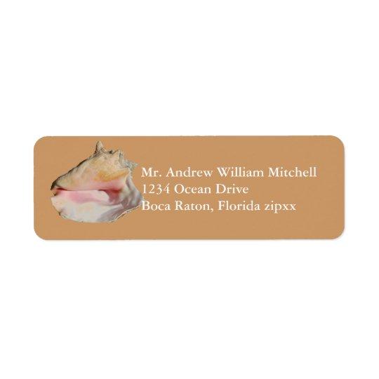 Tan Conch Shell Return Address Label