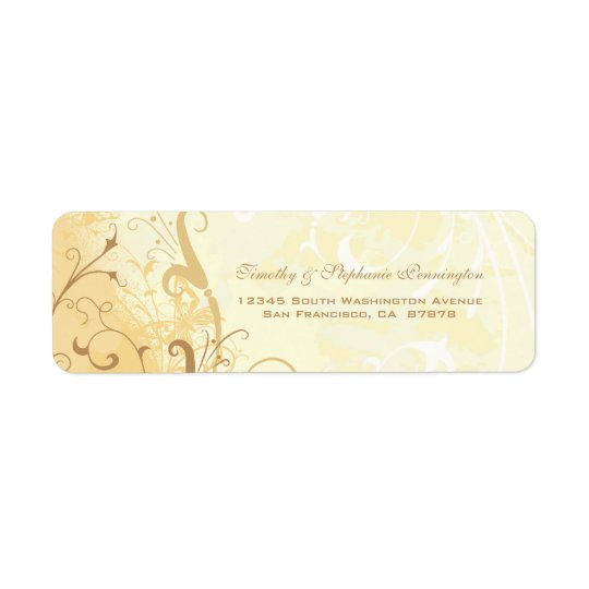 Tan cream butterfly swirls address label