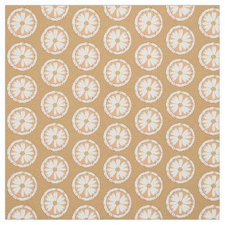 Tan Daisy Circle Pattern Cotton Fabric