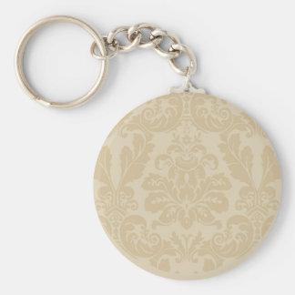 Tan Damask print keychain