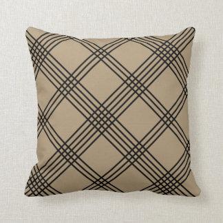 Tan Diagonal Plaid American MoJo Pillo Cushion