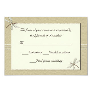 Tan dragonflies Wedding Response Card