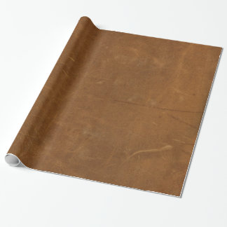 Tan Faux Leather Wrapping Paper
