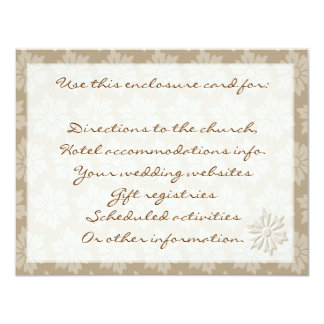 tan Floral Enclosure Card 11 Cm X 14 Cm Invitation Card