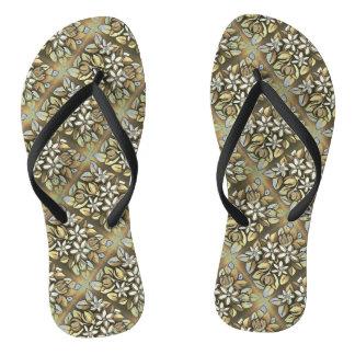 Tan Floral Motif Flip Flop Shoes