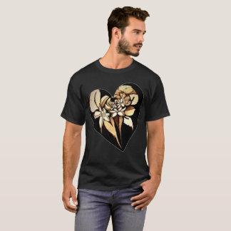 Tan Floral Motif Heart Shirt up to 6x Plus Size