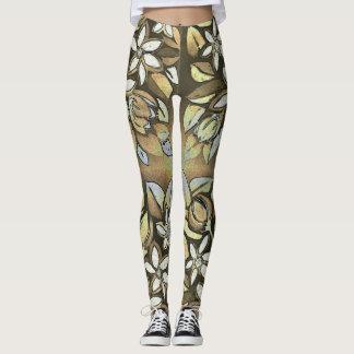 Tan Floral Motif Leggings E5D7BC is Tan