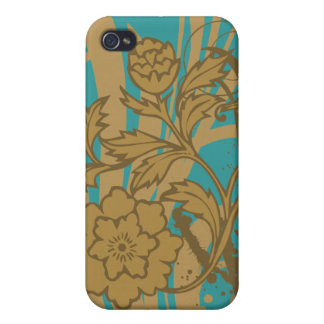Tan Floral on Teal i Case For iPhone 4