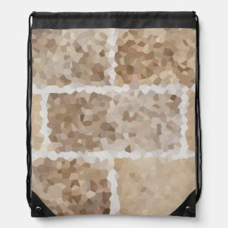 Tan Geometric Drawstring Bag