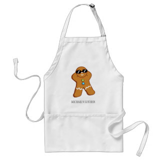 """Tan Gingerbread Man™"" Personalized Name Apron"