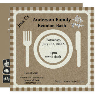 Tan Gingham and Pictogram Picnic Invitation