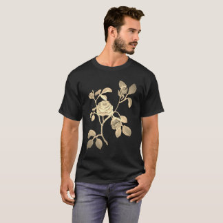 Tan Gold Look Rose Vine Floral Motif T-Shirt