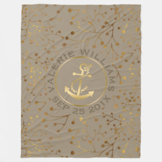 Tan & Gold Tree Branches With Gold Nautical Anchor Fleece Blanket