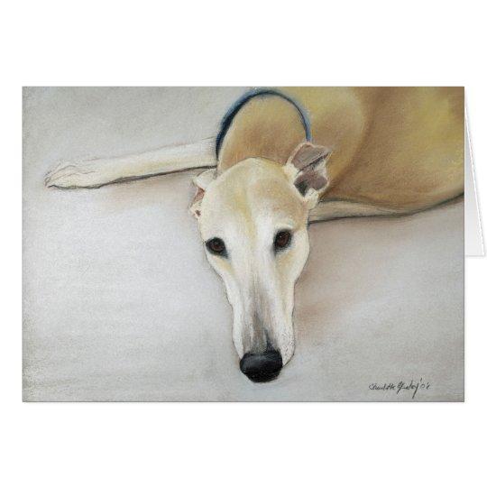 """""""Tan Greyhond"""" Dog Art Greeting Card"""
