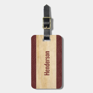 Tan Grunge with Maroon Leather Look Border Luggage Tag