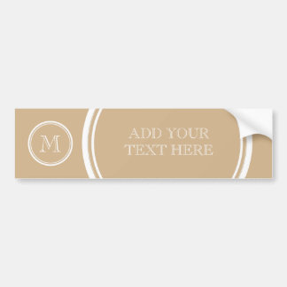 Tan High End Colored Monogrammed Bumper Sticker
