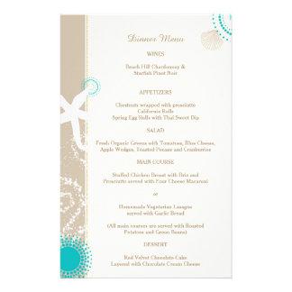 Tan Ivory Aqua Trendy Beach Wedding Menu