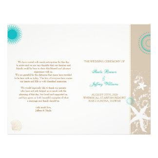 Tan Ivory Teal Beach Wedding Program (BiFold) Flyer