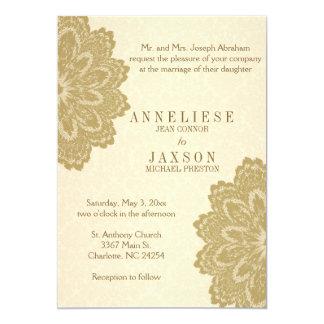 Tan Lace Wedding Invitation   Zazzle