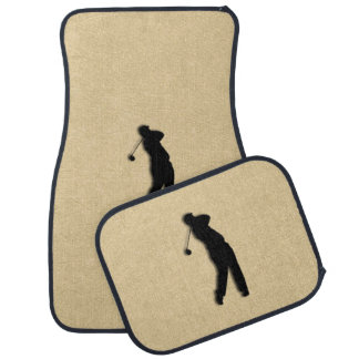 Tan Leather Golf Floor Mat
