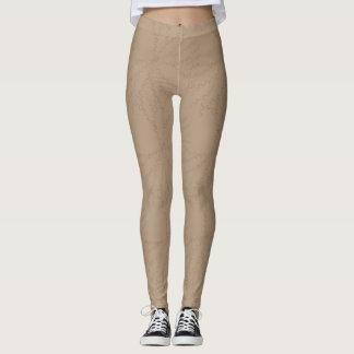 Tan Leggings with Subtle Pattern