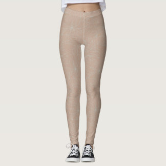 Tan Leggings with Subtle White Design