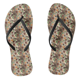 Tan Modern Flowers - FlipFlops Thongs