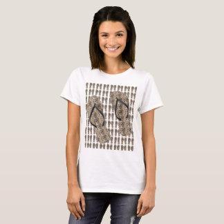 Tan Modern Flowers - T-Shirt