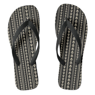 Tan-on-Black Paw Print Stripe Flip-Flops Thongs