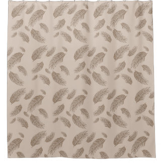 tan palm fronds shower curtain