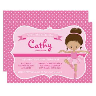 Tan Pink Ballerina Birthday Invitation