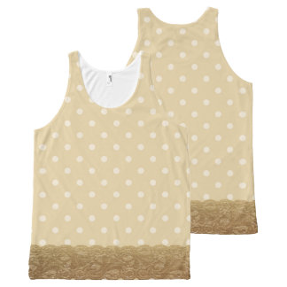 Tan Polka Dot and Lace All-Over Print Singlet